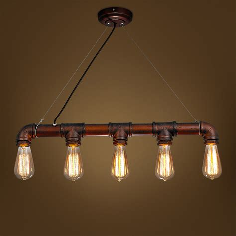 Light Iron by Retro Industrial Edison Bulbs 5 Heads Pendant Light Iron