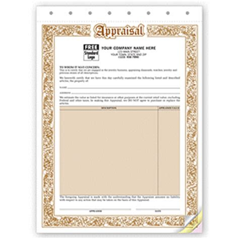 appraisal form jewelry appraisal forms 128 by deluxe