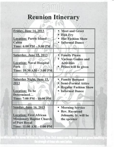 reunion itinerary moores family reunion 2013