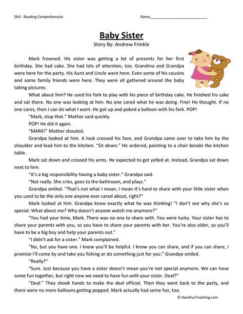 free second grade worksheets reading comprehension