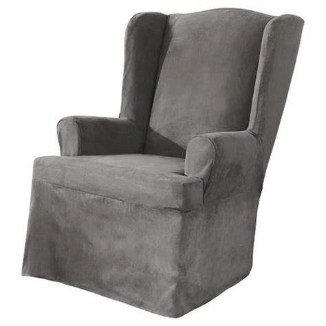 sure fit grey slipcover sure fit wing chair slipcover grey target