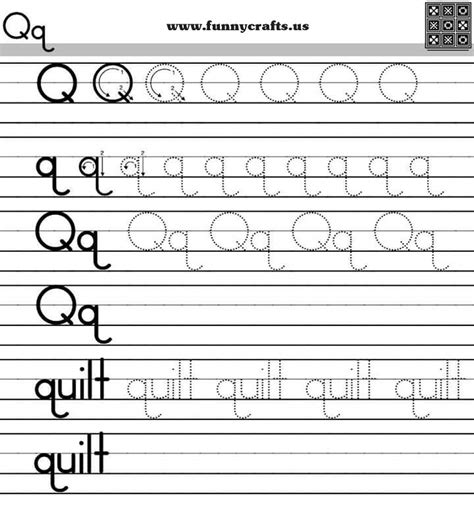 Alphabet Worksheets For Grade by Letter Q Handwriting Worksheets For Preschool To