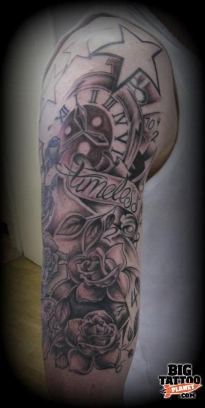 timeless clock and roses sleeve timeless clock and half sleeve tattoos ideas