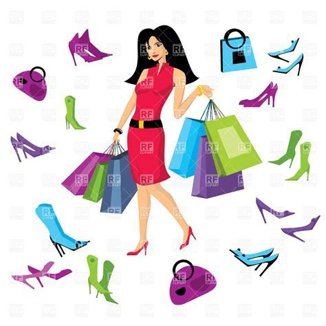 Shopping bag clipart pretty woman in footware store with