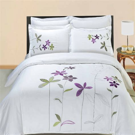 embroidered bedding luxury white lavender green south garden embroidered duvet