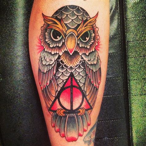 harry potter owl tattoo hallowed owl harry potter tattoos that would make j k
