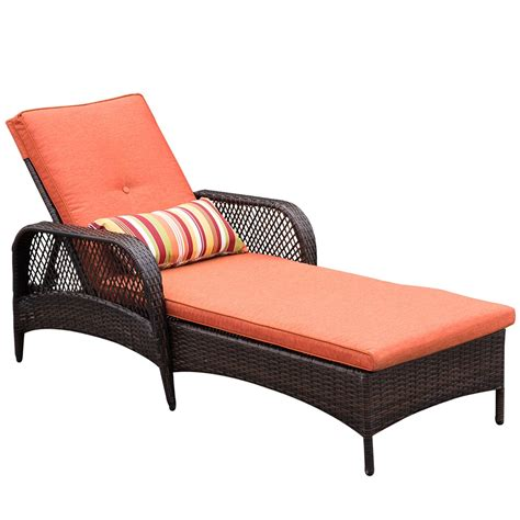 Luxury Reclining Brown Wicker Chaise Lounge Chair Outdoor