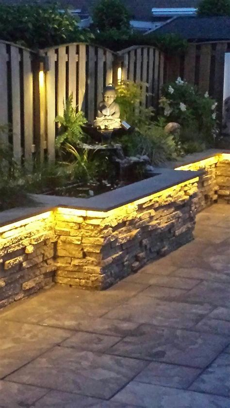 led verlichting strip tuin warm witte led strips in een border gebruikt in boeddha