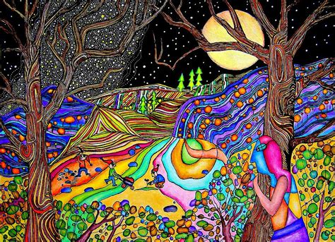 arts drawing photos moon on psychedelic hill painting by mandragora