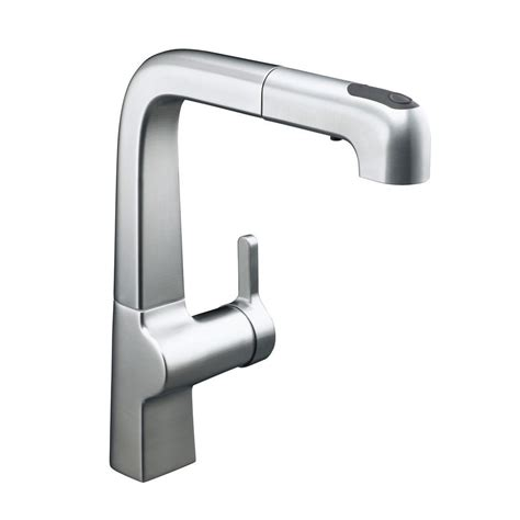 kohler evoke single handle pull out sprayer kitchen faucet in vibrant polished nickel k 6331 sn