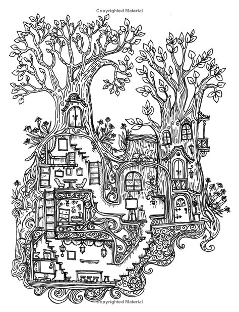 village house coloring pages a coloring book for adults and children secret village