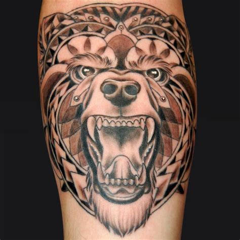 tribal bear by jordan campbell tattoos