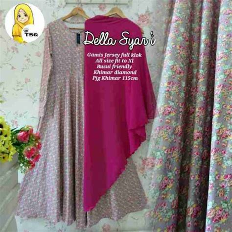 Syari Pink Fanta gamis modern della syar i b049 baju muslim terbaru murah