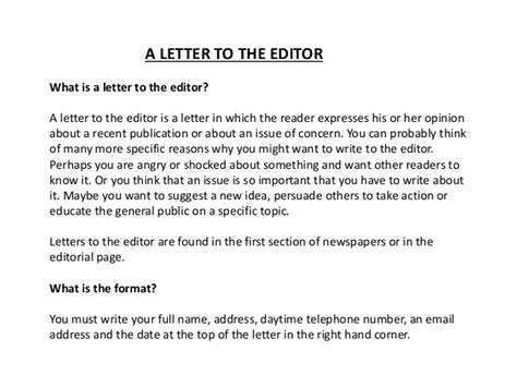 how to write a letter to the editor a letter to the editor