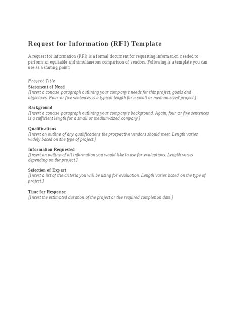 Sle Response Letter Request Information Rfi Document Template 28 Images Rfi Cover Letter Sle Request For Information Rfi Document