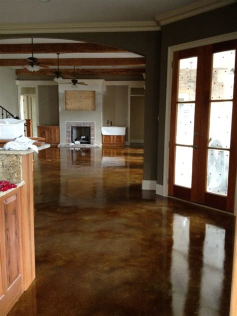 Interior acid stained flooring   Traditional   Kitchen