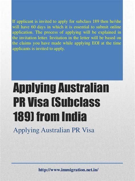 Invitation Letter For Visa Subclass 600 applying australian pr visa subclass 189