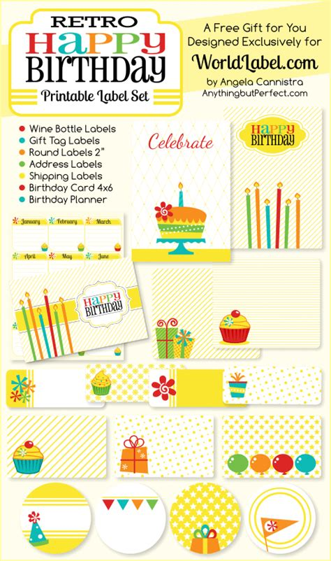 birthday labels template free retro happy birthday printable labels set worldlabel