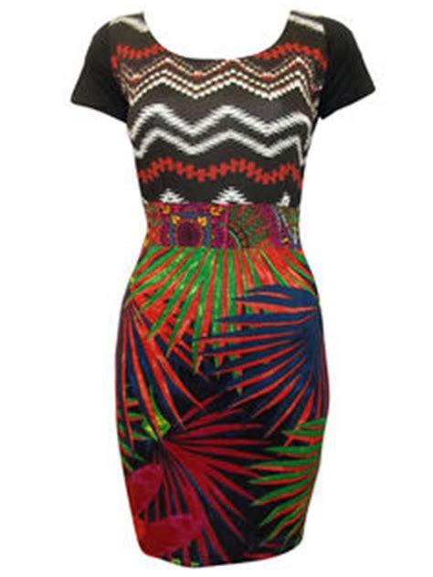 Dress Import V Bkk Js Mini Dress desigual tropical print bodycon dress patchwork size 8 10