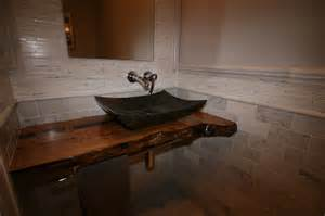 Custom Live Edge Vanity Marble Powder With Live Edge Countertop Contemporary