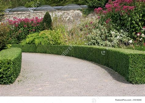 nature landscapes curved garden pathway stock picture