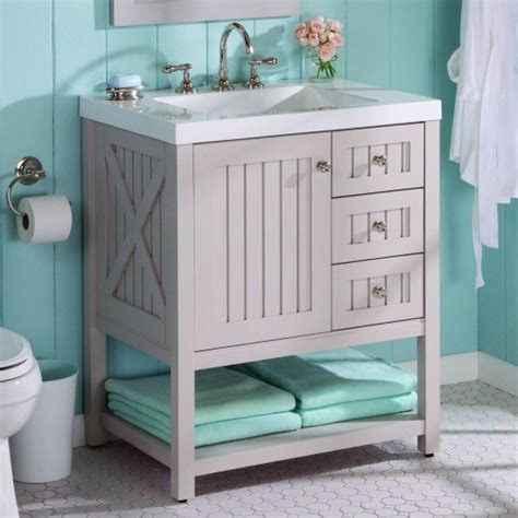 Aqua Bathroom Vanity by Farmhouse Bathrooms And Projects Knick Of Time