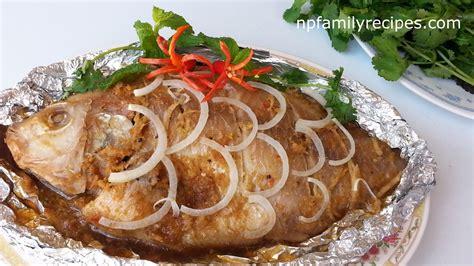 baked fish with lemongrass c 225 nướng sả npfamily recipes