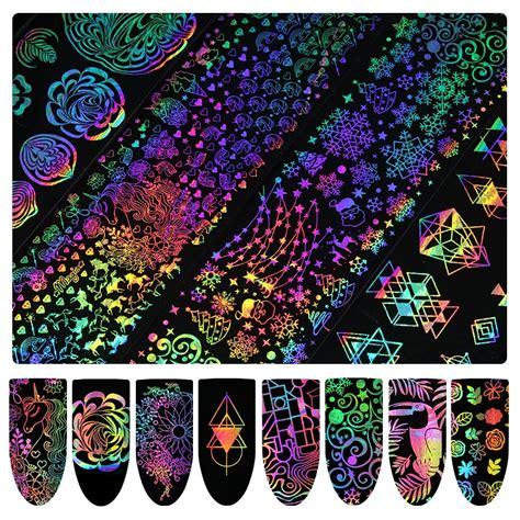 xmas dreamcatcher 8pcs 4 20cm holographic gradient nail foil xmas unicorn