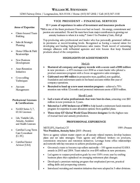 Resume Sles For Sales Manager Insurance Insurance Sales Resume Exle Resumes Design