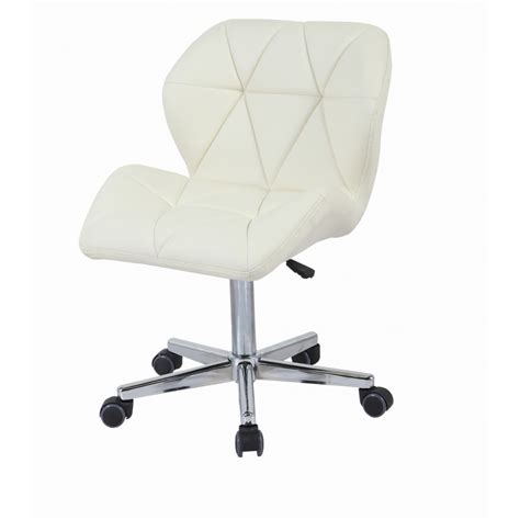 Cream Modern Uranus Padded Swivel Faux Leather Computer Swivel Computer Desk