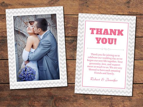 Thank You Card Templates For Wedding Photographers by Print Templates Wedding Thank You Cards Chevron Thank
