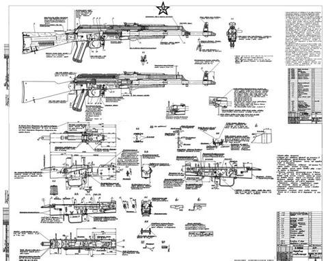 ak 47 blueprints wts soviet akm blueprints signed by kalashnikov 1960s