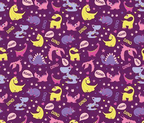 seamless pattern girly girly dinosaurs roaring seamless pattern fabric oksancia