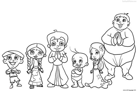 chota bheem team coloring pages printable