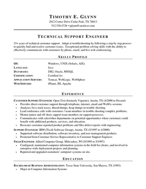 resume sle for technical support technical support resume format resume template easy