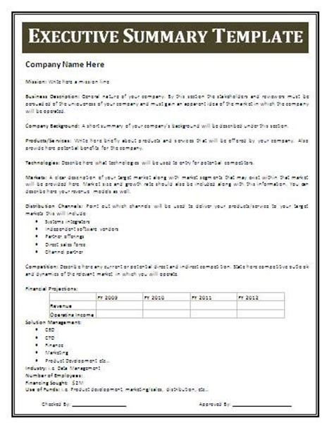 real estate executive summary template gallery templates