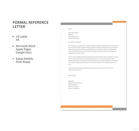 sample business reference letter templates