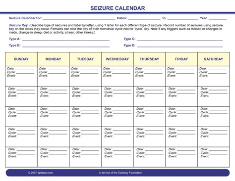 seizure diary template seizure information forms epilepsy foundation