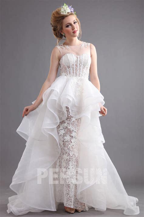 Exklusive Hochzeitskleider by Transparent A Linie Spitze 196 Rmellos Brautkleider