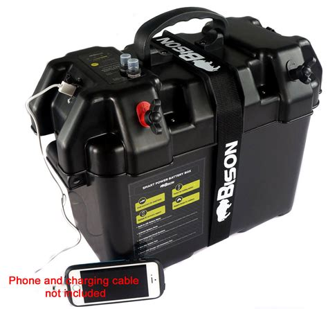 boat battery box with charger bison battery box carrier with usb charger led meter