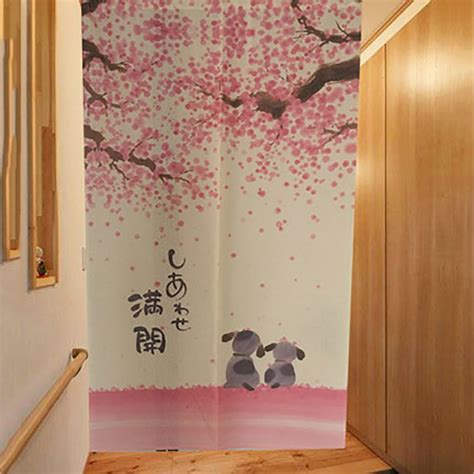 decorative door curtains romantic blossom cherry sakura and little dog japanese