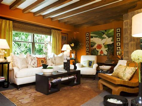 tropical living rooms tropical orange living room with exposed beam ceiling hgtv