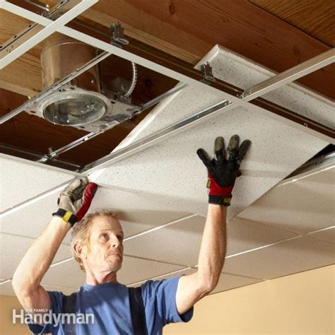 How To Install A Suspended Ceiling Drop Ceiling Tiles Installation Tips Family Handyman