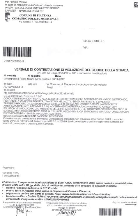 ufficio postale corsico multe sanzioni amministrative comune di piacenza