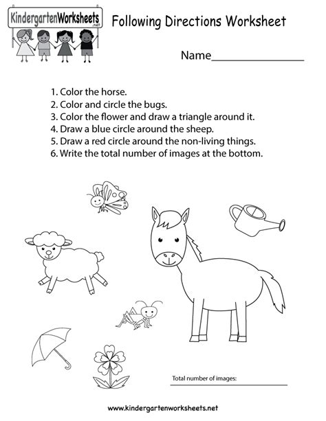 directions exercises printable following directions worksheets for kindergarten