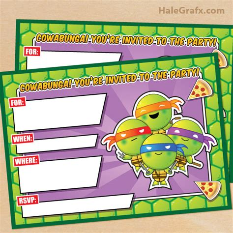 printable ninja turtle invitation template free printable tmnt ninja turtle birthday invitation