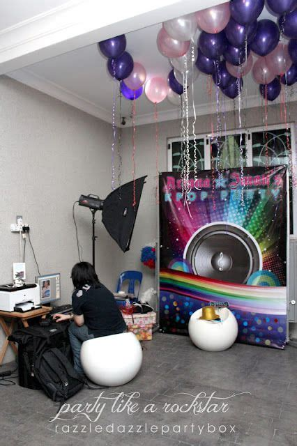 kpop themed debut party photo booth kpop rockstar dress up love the balloons and