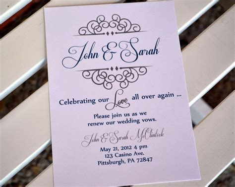 Vow renewal invitation. Anniversary party invitation