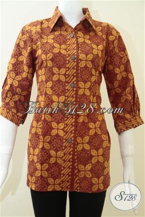 Baju Batik Resmi Elegan baju batik motif kawung modis dan elegan blus batik mewah lengan tiga perempat baju resmi