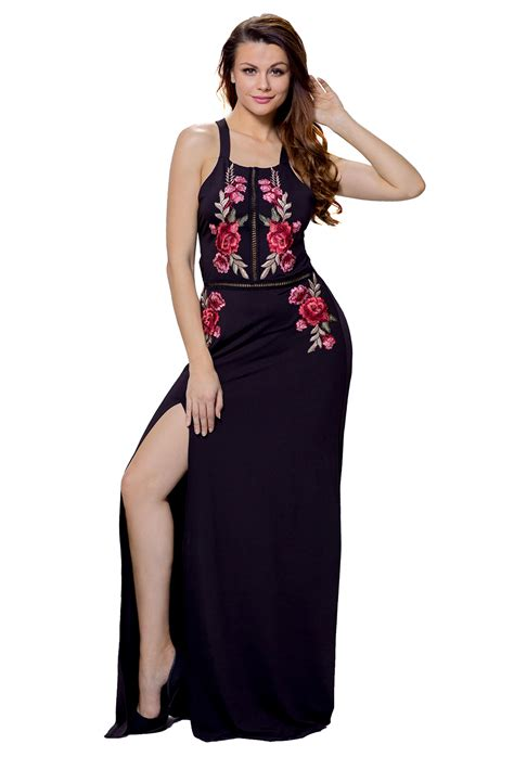 cheap wholesale black high split floral embroidered maxi dress